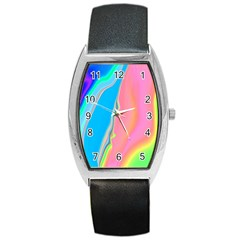 Aurora Color Rainbow Space Blue Sky Purple Yellow Green Pink Barrel Style Metal Watch by Mariart