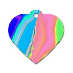 Aurora Color Rainbow Space Blue Sky Purple Yellow Green Pink Dog Tag Heart (two Sides) by Mariart