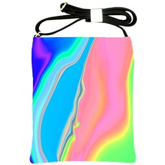 Aurora Color Rainbow Space Blue Sky Purple Yellow Green Pink Shoulder Sling Bags by Mariart