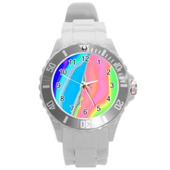 Aurora Color Rainbow Space Blue Sky Purple Yellow Green Pink Round Plastic Sport Watch (l) by Mariart