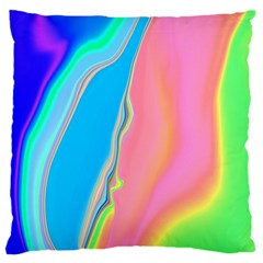 Aurora Color Rainbow Space Blue Sky Purple Yellow Green Pink Large Flano Cushion Case (one Side)