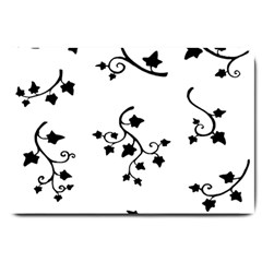 Black Leaf Tatto Large Doormat  by Mariart