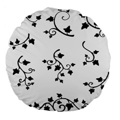 Black Leaf Tatto Large 18  Premium Flano Round Cushions by Mariart