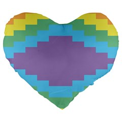 Carmigender Flags Rainbow Large 19  Premium Flano Heart Shape Cushions by Mariart
