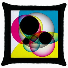 Apollonius Color Multi Circle Polkadot Throw Pillow Case (black) by Mariart