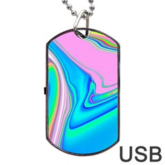 Aurora Color Rainbow Space Blue Sky Purple Yellow Green Pink Red Dog Tag Usb Flash (two Sides) by Mariart