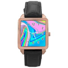Aurora Color Rainbow Space Blue Sky Purple Yellow Green Pink Red Rose Gold Leather Watch