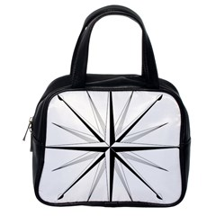 Compase Star Rose Black White Classic Handbags (one Side) by Mariart