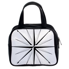 Compase Star Rose Black White Classic Handbags (2 Sides) by Mariart