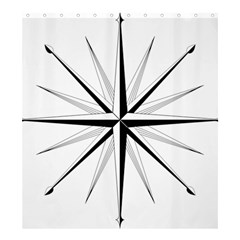 Compase Star Rose Black White Shower Curtain 66  X 72  (large)  by Mariart