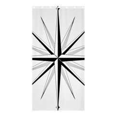 Compase Star Rose Black White Shower Curtain 36  X 72  (stall)  by Mariart