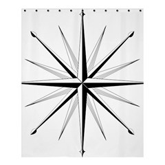 Compase Star Rose Black White Shower Curtain 60  X 72  (medium)  by Mariart