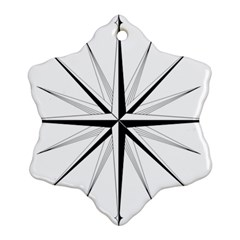 Compase Star Rose Black White Ornament (snowflake)