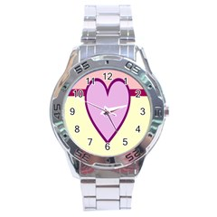 Cute Gender Gendercute Flags Love Heart Line Valentine Stainless Steel Analogue Watch by Mariart