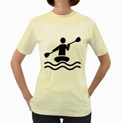 Cropped Kayak Graphic Race Paddle Black Water Sea Wave Beach Women s Yellow T-shirt