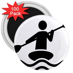 Cropped Kayak Graphic Race Paddle Black Water Sea Wave Beach 3  Magnets (100 Pack) by Mariart