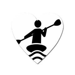 Cropped Kayak Graphic Race Paddle Black Water Sea Wave Beach Heart Magnet by Mariart