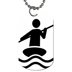 Cropped Kayak Graphic Race Paddle Black Water Sea Wave Beach Dog Tag (one Side) by Mariart