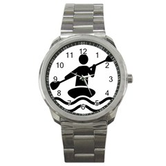 Cropped Kayak Graphic Race Paddle Black Water Sea Wave Beach Sport Metal Watch by Mariart