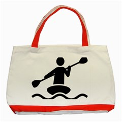 Cropped Kayak Graphic Race Paddle Black Water Sea Wave Beach Classic Tote Bag (red) by Mariart