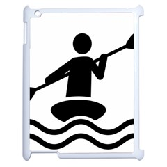 Cropped Kayak Graphic Race Paddle Black Water Sea Wave Beach Apple Ipad 2 Case (white) by Mariart