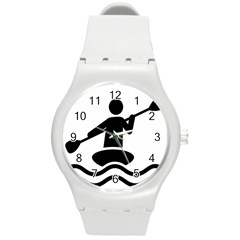 Cropped Kayak Graphic Race Paddle Black Water Sea Wave Beach Round Plastic Sport Watch (m) by Mariart