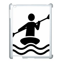 Cropped Kayak Graphic Race Paddle Black Water Sea Wave Beach Apple Ipad 3/4 Case (white)