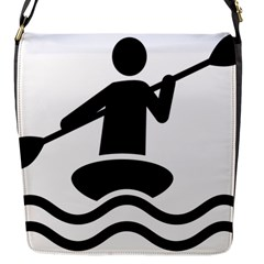 Cropped Kayak Graphic Race Paddle Black Water Sea Wave Beach Flap Messenger Bag (s) by Mariart