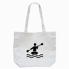 Cropped Kayak Graphic Race Paddle Black Water Sea Wave Beach Tote Bag (white) by Mariart