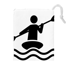 Cropped Kayak Graphic Race Paddle Black Water Sea Wave Beach Drawstring Pouches (extra Large) by Mariart