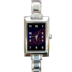Contigender Flags Star Polka Space Blue Sky Black Brown Rectangle Italian Charm Watch