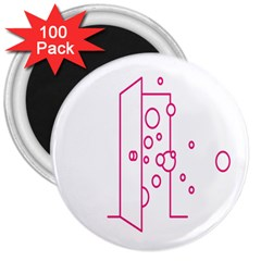 Deep Clean Bubbel Door Pink Polka Circle 3  Magnets (100 Pack) by Mariart
