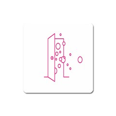 Deep Clean Bubbel Door Pink Polka Circle Square Magnet by Mariart