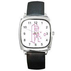 Deep Clean Bubbel Door Pink Polka Circle Square Metal Watch by Mariart