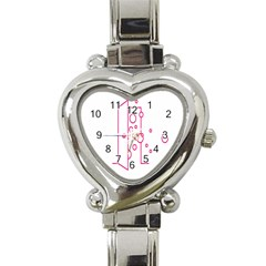 Deep Clean Bubbel Door Pink Polka Circle Heart Italian Charm Watch by Mariart