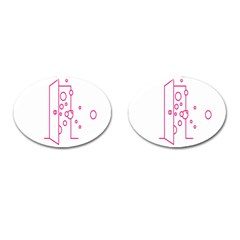 Deep Clean Bubbel Door Pink Polka Circle Cufflinks (oval) by Mariart