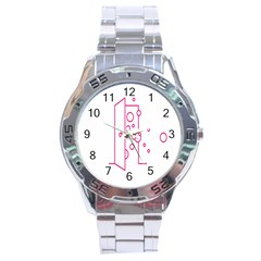 Deep Clean Bubbel Door Pink Polka Circle Stainless Steel Analogue Watch by Mariart