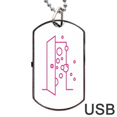Deep Clean Bubbel Door Pink Polka Circle Dog Tag Usb Flash (two Sides) by Mariart