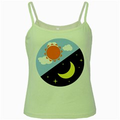 Day Night Moon Stars Cloud Stars Green Spaghetti Tank by Mariart