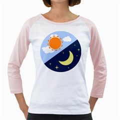 Day Night Moon Stars Cloud Stars Girly Raglans by Mariart