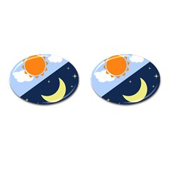 Day Night Moon Stars Cloud Stars Cufflinks (oval) by Mariart