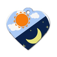 Day Night Moon Stars Cloud Stars Dog Tag Heart (two Sides) by Mariart