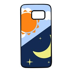 Day Night Moon Stars Cloud Stars Samsung Galaxy S7 Black Seamless Case by Mariart
