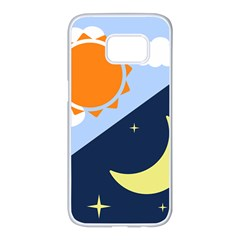 Day Night Moon Stars Cloud Stars Samsung Galaxy S7 Edge White Seamless Case by Mariart