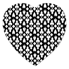 Dark Horse Playing Card Black White Jigsaw Puzzle (heart) by Mariart