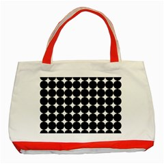 Dotted Pattern Png Dots Square Grid Abuse Black Classic Tote Bag (red) by Mariart