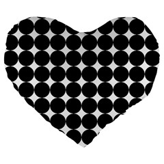 Dotted Pattern Png Dots Square Grid Abuse Black Large 19  Premium Flano Heart Shape Cushions by Mariart