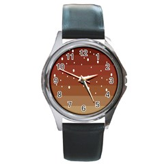 Fawn Gender Flags Polka Space Brown Round Metal Watch by Mariart