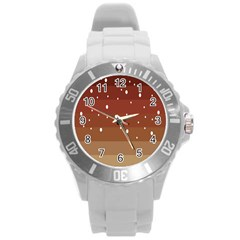 Fawn Gender Flags Polka Space Brown Round Plastic Sport Watch (l) by Mariart