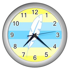 Feather Flags Wall Clocks (silver)  by Mariart
